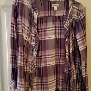 Purple plaid blouse